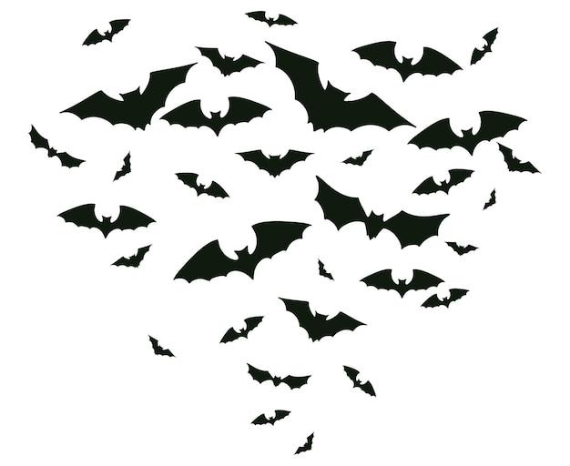 Летучие мыши на хэллоуин. жуткие летучие мыши стекаются, жуткий ужас вампир крылатых животных векторные иллюстрации фона. страшные летучие мыши на хэллоуин. силуэт летучей мыши ужаса, жуткий и ужасающий