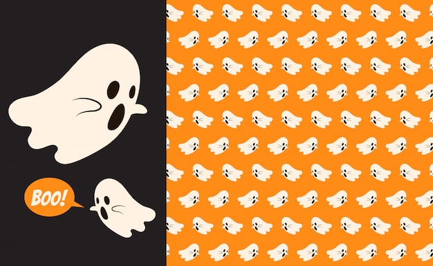 Halloween flying ghost seamless pattern. holidays cute ghost cartoon character
