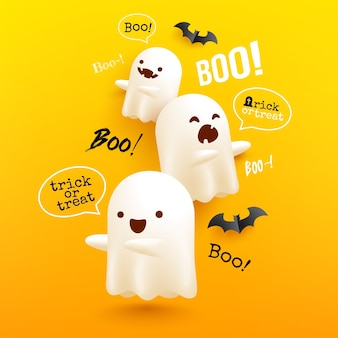 노란색에 무서운 흰색 유령과 할로윈 비행 유령 포스터 및 배너 서식 파일