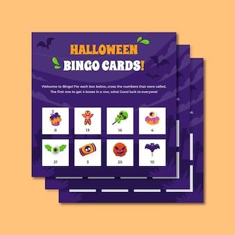 Halloween food bingo board postcard