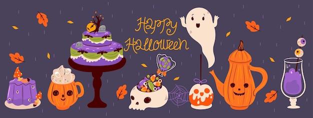 Halloween food and drink banner. vector graphics.