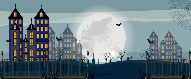 Halloween forest with castles, cemetery and bats banner