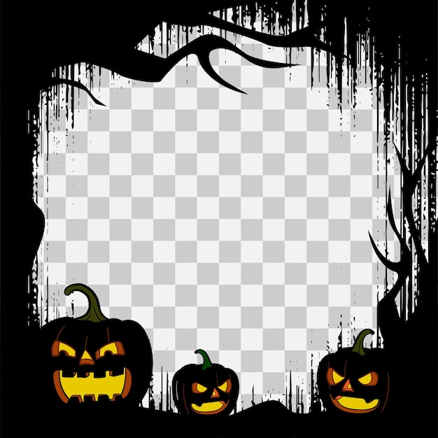 Halloween frame border template with spooky pumpkins