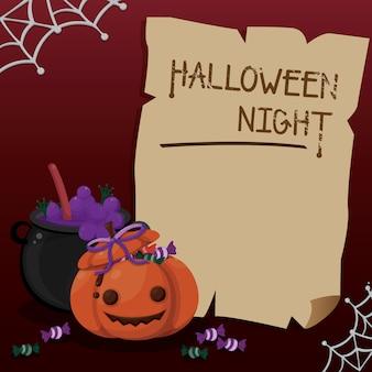 Halloween frame  cute pumpkin and witch's pot. halloween template.