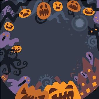 Cornice di halloween disegnata Vettore gratuito
