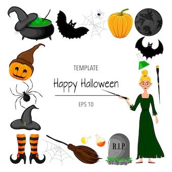 Рамка хэллоуина для вашего текста с традиционными атрибутами. мультяшный стиль. векторная иллюстрация.