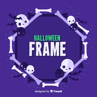 Halloween frame with bones