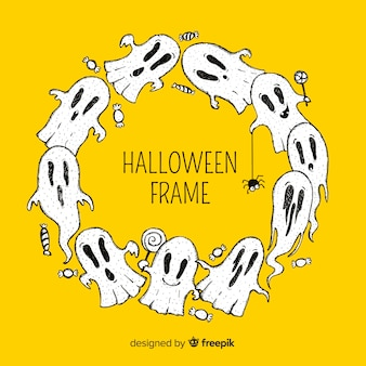 Halloween frame with ghosts