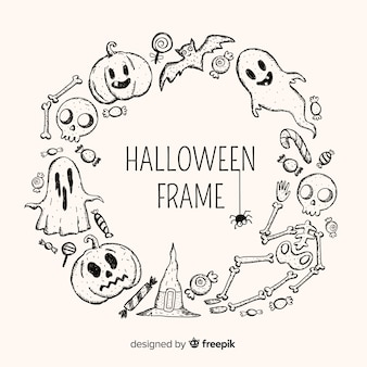 Halloween frame with hand drawn elements