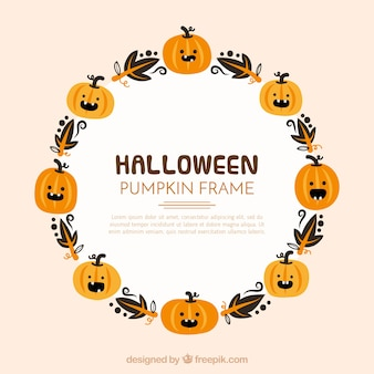 Halloween frame with pumpkins and leaves