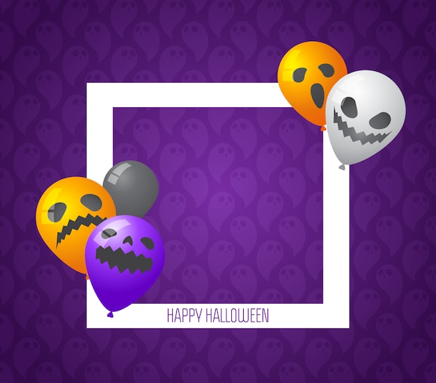 Halloween frame with scary balloon in purple background