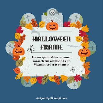 Рамка для хэллоуина с надгробными плитами и листьями