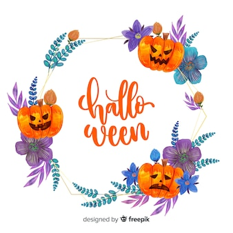 Halloween frame with watercolor design