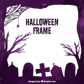 Halloween frame with watercolor style