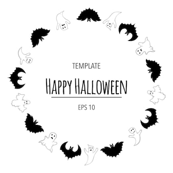 Halloween frame for your text with traditional attributes. cartoon style. vector illustration.