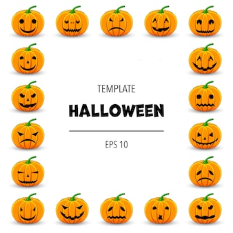 Halloween frame for your text with traditional attributes. cartoon style.