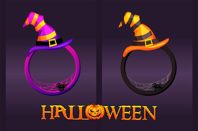 Halloween frames with hat