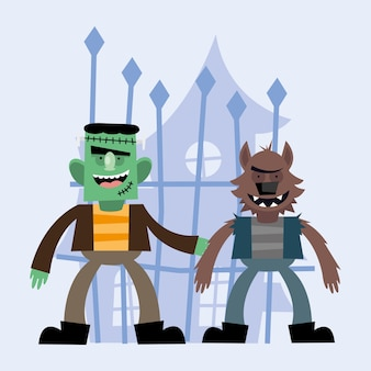 ハロウィーンフランケンシュタインと狼の漫画のデザイン、怖いテーマ