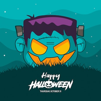 Halloween frankenstein costume illustration