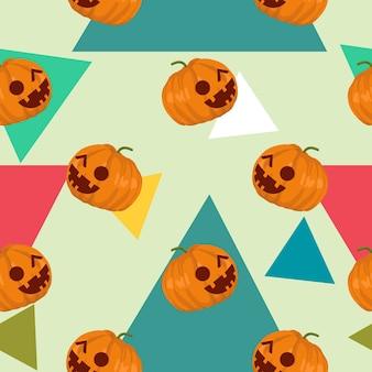 Halloween frankenstein and web spider cute seamless pattern