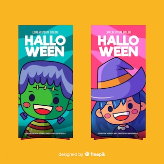 Halloween frankenstein and witch banners