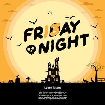 Halloween friday night and full moon card