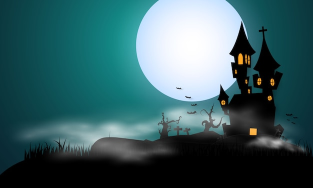 Halloween full moon and bat silhouette style