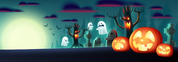 Halloween fullmoon horizontal banner or background with halloween pumpkins and cute ghost