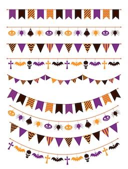 ハロウィーンの花輪。カボチャ、クモ、グリーティングカードの招待状の頭蓋骨とお祝いホオジロ、カラフルなフラグ装飾ロープサイン怖いセット
