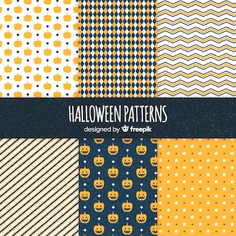 Halloween geometric pattern collection in flat design