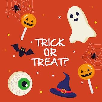 Призрак хэллоуина и конфеты с дизайном текста трюк или угощение, тема хэллоуина.