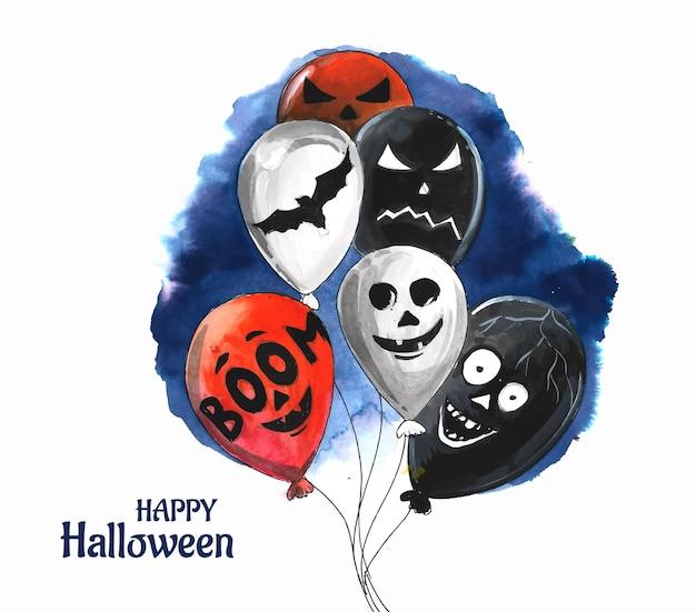 ハロウィーンの幽霊風船クモとコウモリ怖い気球水彩背景