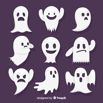 Halloween ghost character collection with flat design