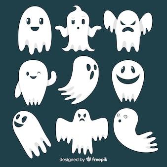 Коллекция символов призрак хэллоуина с плоским дизайном
