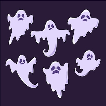 Halloween ghost collection in flat design