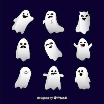 Halloween ghost faces collection in flat design