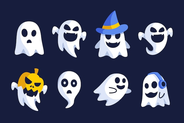 Halloween ghost flat design collection set