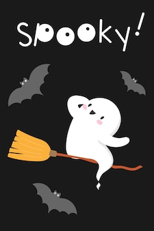 Halloween ghost flying on broomstick spooky spirit poster halloween card with cute kawaii spirit