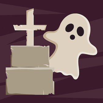 Halloween ghost and grave illustration