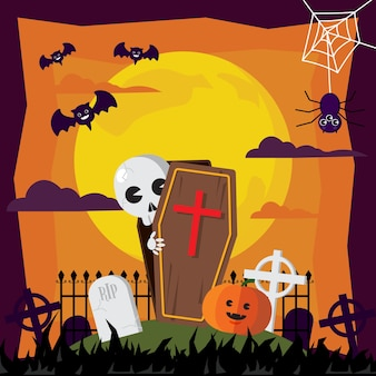 Halloween ghost and graveyard in moon illustrations.