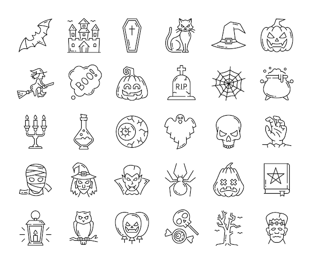 할로윈 유령, 호박, 마녀, 거미줄, 무서운 캐릭터, 벡터 윤곽선 아이콘. 으스스한 사탕과 공포 괴물이 있는 할로윈 고양이와 박쥐, 소름 끼치는 파티를 위한 촛불이 있는 마녀 모자와 해골