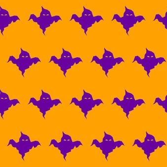 ハロウィーンの幽霊のシームレスなパターンの背景。オレンジ色のカバーで隔離の抽象的なハロウィーンの紫色の幽霊。デザインカード、招待状、ポスター、ノートブック、アルバムなどの手作りの幾何学的なゴーストパターン。