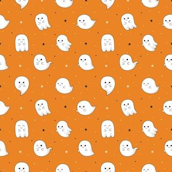 Halloween ghost seamless pattern on orange background