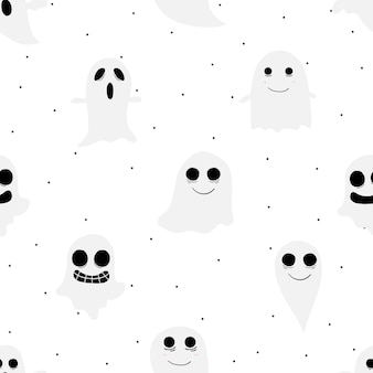 Halloween ghost seamless pattern