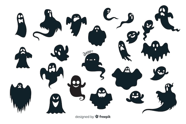 Halloween ghost silhouette collection
