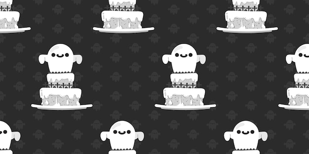 Halloween ghost on top of cake seamless pattern.