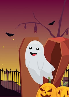 Halloween ghost with coffin in cemetery scene
