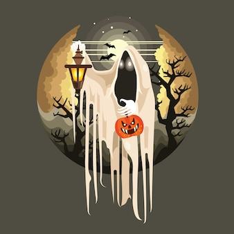 Halloween ghost with lantern character