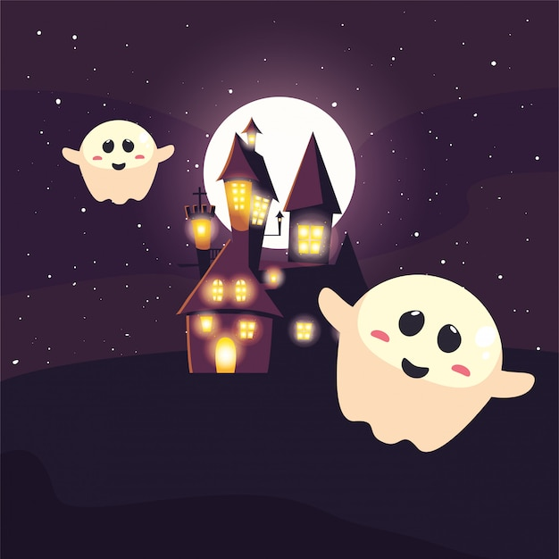 Halloween ghost with moon in scene of halloween