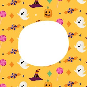 ハロウィーンの幽霊やキャンディーの漫画の背景にテキストデザイン、怖いテーマのためのスペース